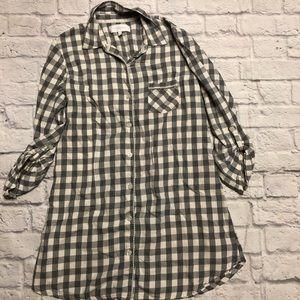 Victoria's Secret Sleep Shirt Gray & White Check